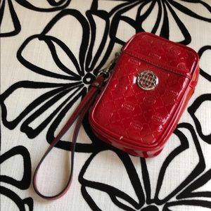 NWOT Dana Bachman Clear Red leather zip phone case